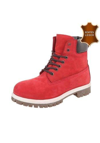 Neckermann Dames  Lederen hoge schoen met veter  -  rood