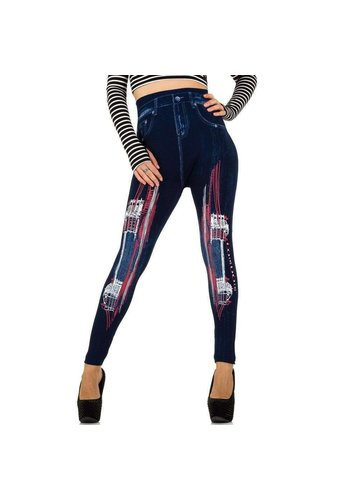 Best Fashion Dames Legging van Best Fashion - 1 maat - blauw/rood