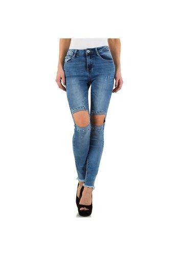 BLUE RAGS Dames Jeans vsn Blue Rags - blauw met ingenaaide stukken