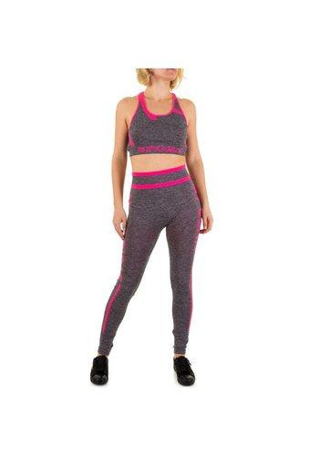 Best Fashion Dames jogging tenue van Best Fashion - grijs/roze