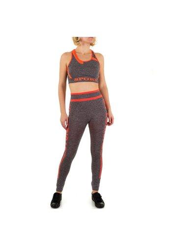 Best Fashion Dames jogging tenue van Best Fashion - grijs/orange