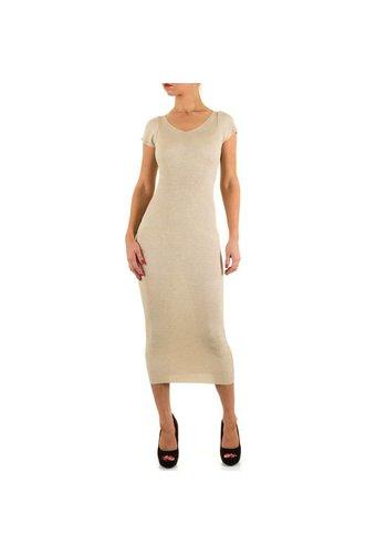 MOEWY Dames jurk van Moewy -lang-  1 maat - beige