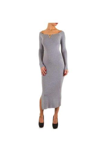 MOEWY Dames jurk van Moewy - lang - 1 maat - grijs