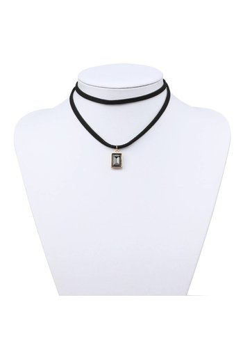 Neckermann Dames halsketting zwart met goudkleurige hanger