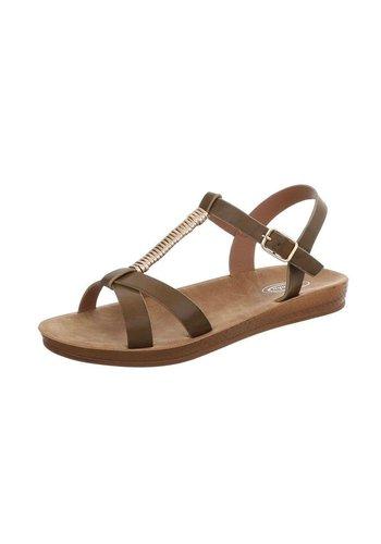 Neckermann Dames platte sandalen - kaki