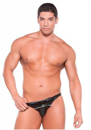 Allure Wetlook Zipper Thong