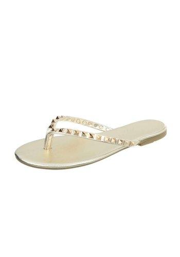 Neckermann Dames vlakke sandalen /slippers- goud