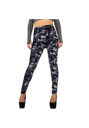 Best Fashion Dames Legging van Best Fashion - 1 maat- blauw-camo