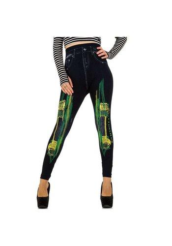Best Fashion Dames Legging van Best Fashion - 1 maat - zwart-geel