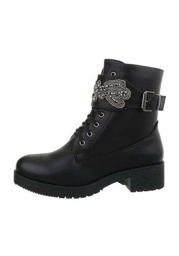 Neckermann Dames  hoge schoen met veter en riempje  - zwart