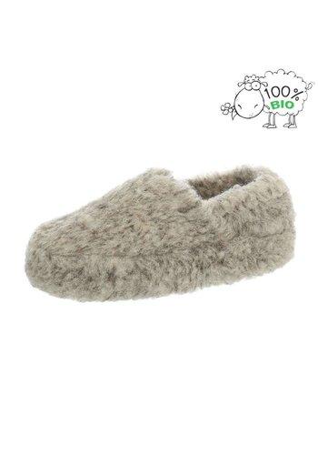 Neckermann Dames en heren echt wollen pantoffel - grijs