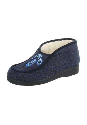 Neckermann Dames pantoffel - donkerblauw met werkje