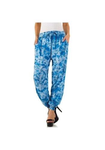 HOLALA Dames Broek van Holala - blauw met vrolijk design