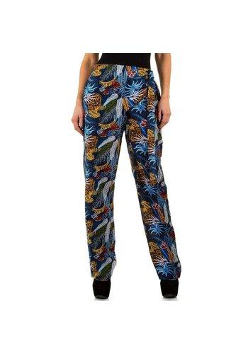 SHK PARIS Dames broek van Shk Paris - blauw met vrolijk design