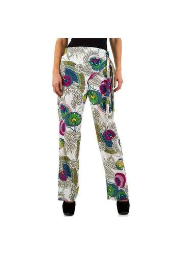 SHK PARIS Dames broek van Shk Paris - wit met vrolijk design