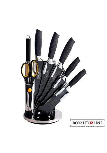 Royalty Line  Messenset met standaard - 8 delig - RVS - zwart
