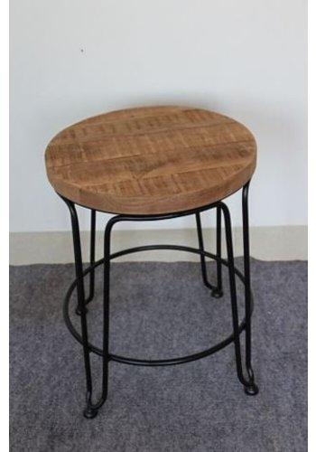 Neckermann Kruk - mango  hout - 46x33x33 cm