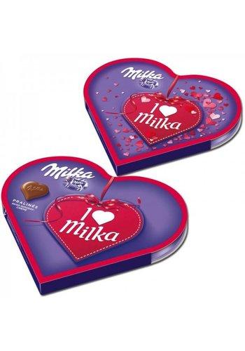 Milka Schokoladenpralinen in herzförmiger Schachtel