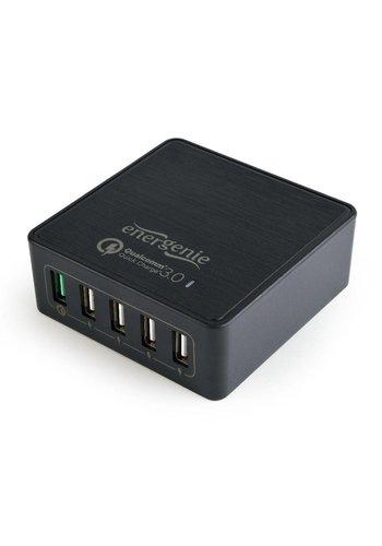 Energenie USB snellader QC3.0 zwart 5-poorts