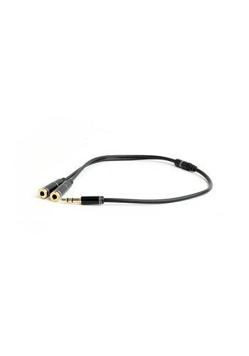 Cablexpert 3.5 mm Audio-Splitterkabel, 10 cm, schwarz, Metallanschlüsse