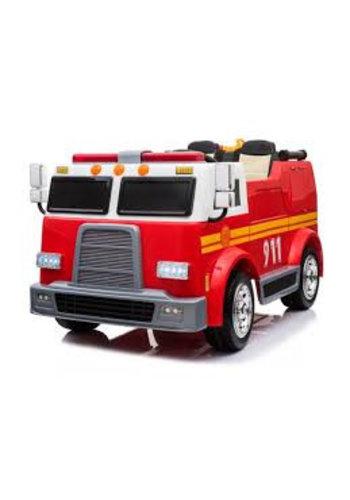 "Kinderfahrzeug Kinderfahrzeug - Elektroauto ""Feuerwehrauto"" - Doppelsitzer - 12V10AH Batterie, 4 Motoren + 2,4 GHz + Wasserstrahl + Sirene"