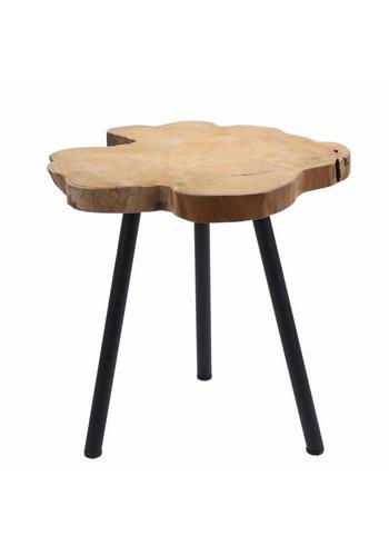 Neckermann Table d'appoint - teck avec pieds en métal
