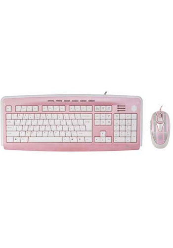 G-Cube Mad for Plaid - Pink - Ensemble de bureau pour clavier et souris multimédia X-Slim - US Layout