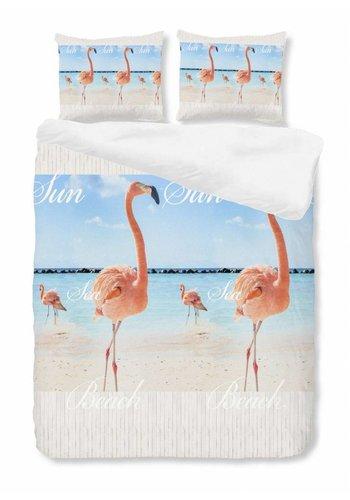 House of Dreams Dekbedovertrek Flamingo - Blauw Maat: 1-Persoons 140x200/220cm + 1 Kussensloop