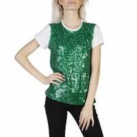 Dames t-shirt glitter groen