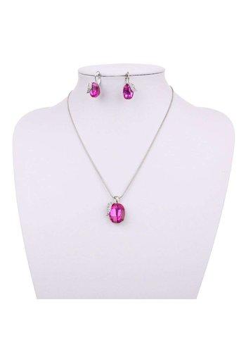Neckermann Dames ketting met oorbellen roze