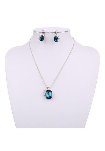 Neckermann Dames ketting met oorbellen blauw