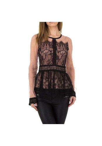 Neckermann Damenhemd mit Spitze - pink / schwarz