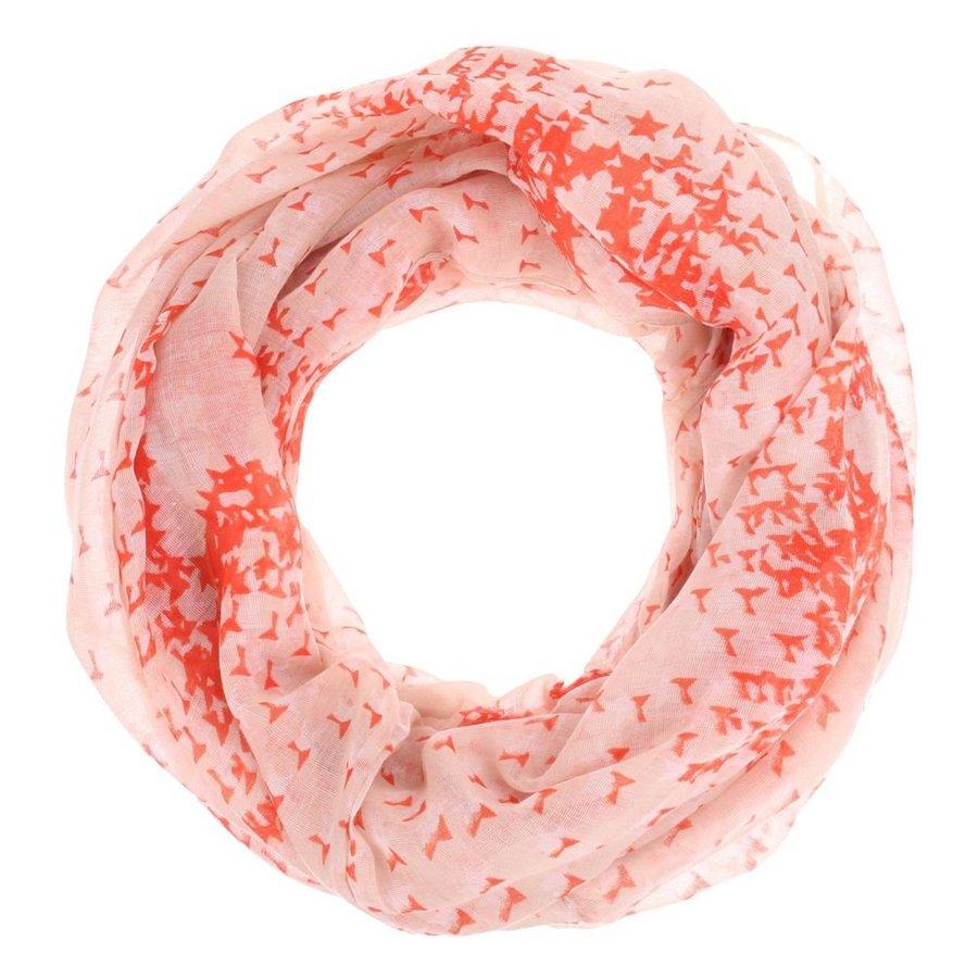 Dames sjaal Gr. een maat - roze gewerkt