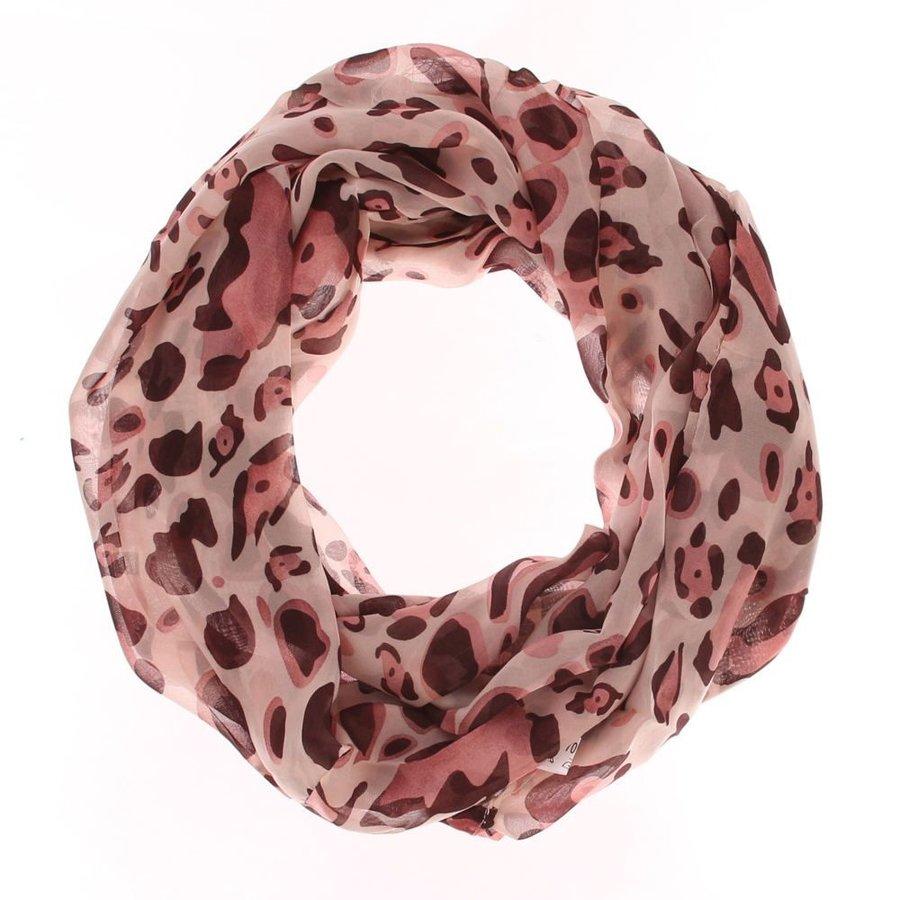 Dames sjaal Gr. één maat - roze gewerkt