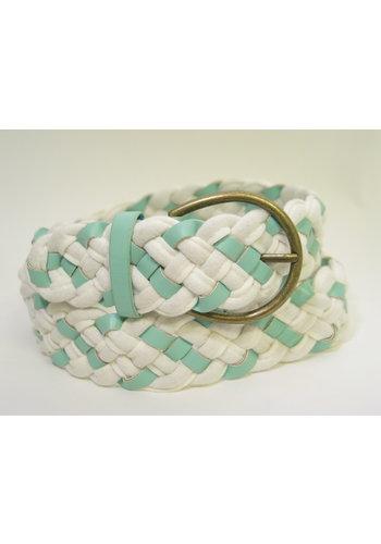 ceinture turquoise-blanche tressée