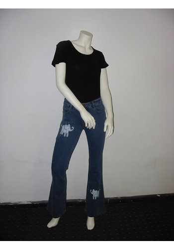 Lineatabs Jeans flair Model met Olifanten opdruk
