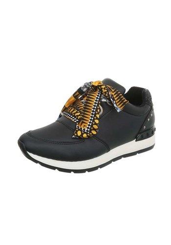 Neckermann Dames sportschoenen zwart met gekleurde veters