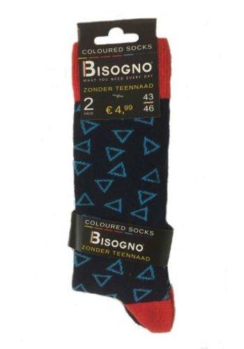 Bisogno Chaussettes pour hommes - motif triangle - 2 paires