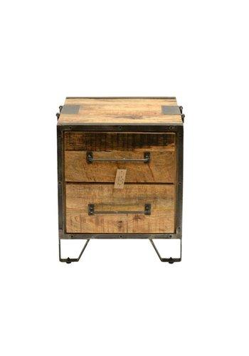 Neckermann Nachttisch - Holz und Metall - 60x46x50 cm