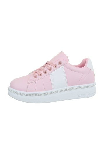 Neckermann Lage sneakers voor dames - roze-wit