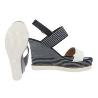 Dames sleehak sandalen - wit bandje en zool