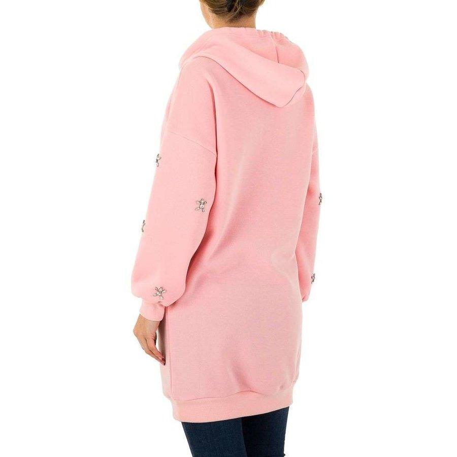 Sweat long à capuche femme rose KL-M207-1