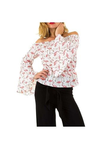 Neckermann Damenbluse weiß / flamingo