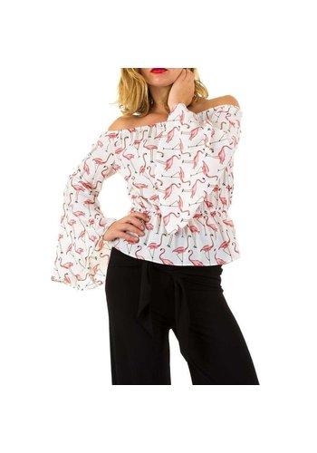 Neckermann dames blouse wit/flamingo