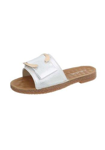 Neckermann Dames platte slippers  - zilver