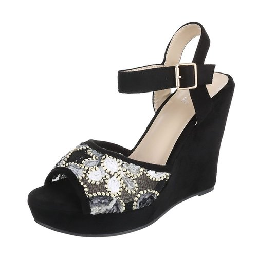 Neckermann Ladies Open Schuh mit Keilabsatz - schwarz
