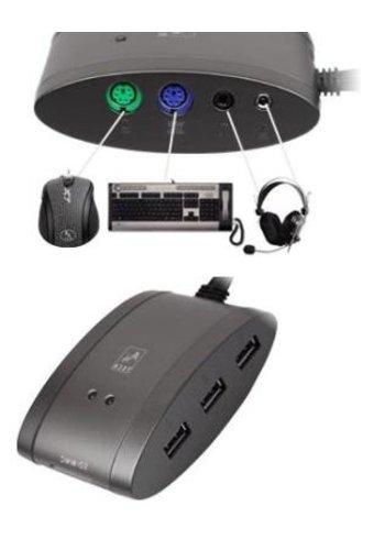 A4 A4-MS-9 HUB für Tastatur, Maus und Audiogeräte inkl. 3 USB-Ports<br>und 7-in-One Kartenleser