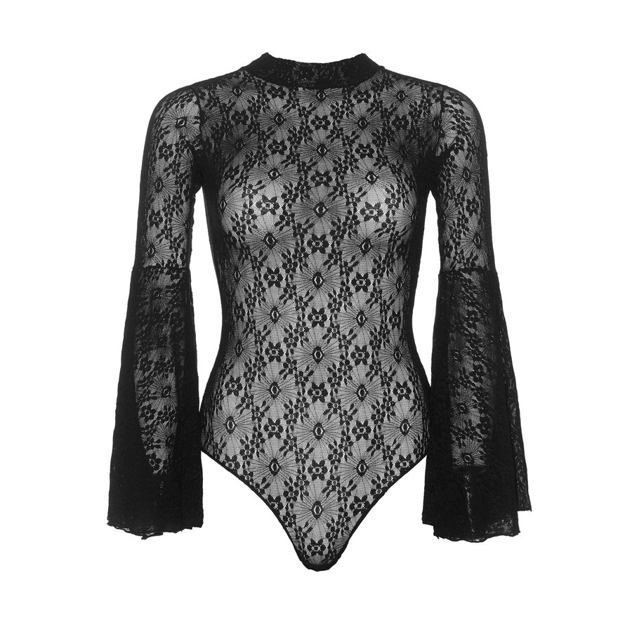 Lace bell sleeve teddy