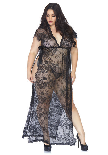 Leg Avenue Lace kaften robe and thong +