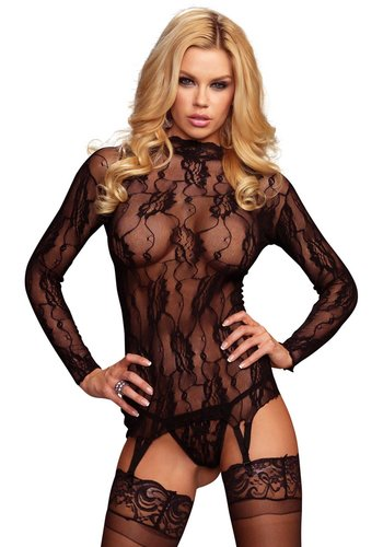 Leg Avenue Lace Garter Top And G-String
